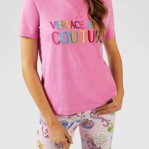 VERSACE JEANS COUTURE –  T-SHIRT Con scritta Multicolor ROSA