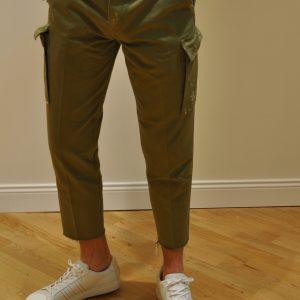 DON THE FULLER – Mod. KANSAS Pantalone CARGO LAVATO Colore VERDE