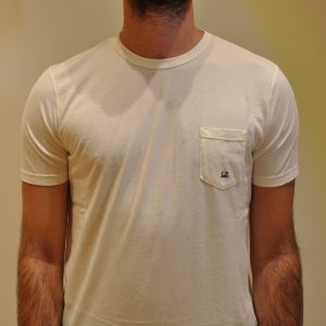 CP COMPANY –  T-SHIRT Con TASCHINO Basic Colore PANNA
