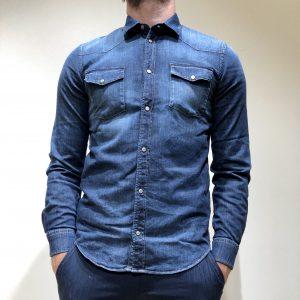 DONDUP CAMICIA di Jeans stretch Colore Denim