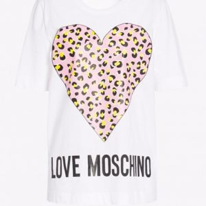 LOVE MOSCHINO – T-SHIRT CUORE MACULATO BIANCO