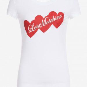 LOVE MOSCHINO T-SHIRT CUORI LOVE BIANCO
