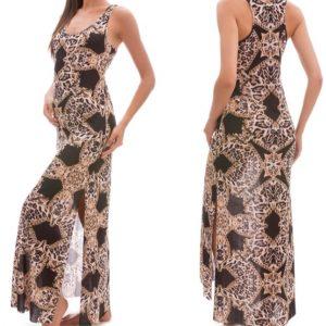 F**K – ABITO lungo Fantasia Leopard Colore Nero