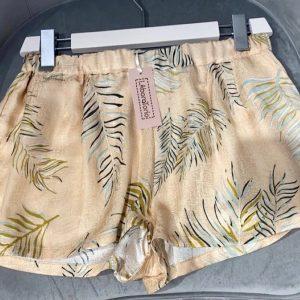 LABORATORIO – Shorts in Seta Stampa colore Panna