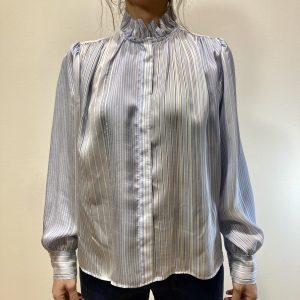 FORTE FORTE – Camicia con rouches riga in misto seta Azzurro