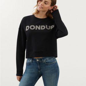 """""""DONDUP"""" FELPA corta con Logo DONDUP Colore NERO"""