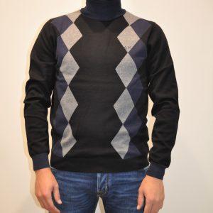 SUN68 – K40108 Lupetto in lana cotone colore Nero fantasia Argyle