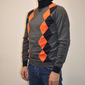 SUN68 – K40108 Lupetto in lana cotone Fantasia Argyle colore Grigio