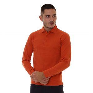 SUN68 – Polo a manica lunga con polso a camicia colore Arancio