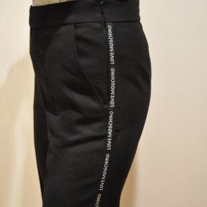 LOVE MOSCHINO – Pantalone in lana con logo banda colore Nero