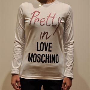 LOVE MOSCHINO – T-shirt a Maniche lunghe con stampa Pretty colore Bianco