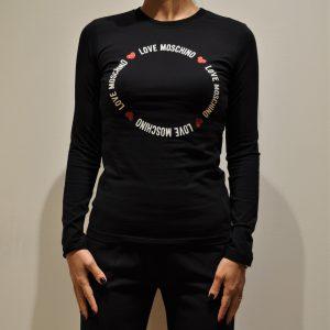 LOVE MOSCHINO – T-Shirt a Manica Lunga con stampa Logo colore Nero