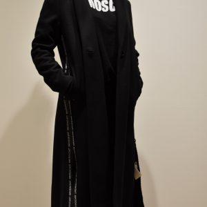 LOVE MOSCHINO – Cappotto Sartoriale con zip e logo Banda colore Nero