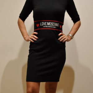 LOVE MOSCHINO – Abito -Tubino in lana stretch con Logo in Vita manica 3/4 – Nero