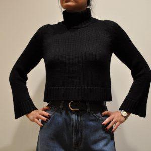 BASE – Collo alto corto 2 fili in lana Merinos colore Nero