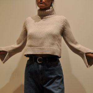 BASE – Collo alto corto 2 fili in lana Merinos colore Stucco