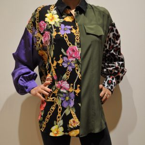 MOSCHINO BOUTIQUE – Camicia Pactwork in seta Multicolor -Verde