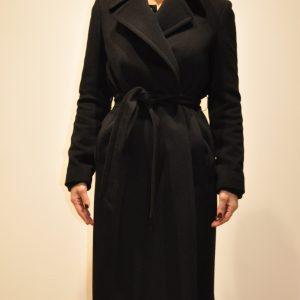 TAGLIATORE – Cappotto vestaglia con cintura misto cachemire colore Nero