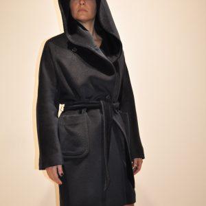 TAGLIATORE – Cappotto CHELSEY a vestaglia con cappuccio e cintura colore BLU