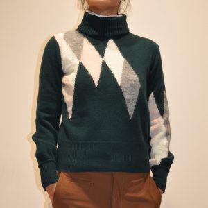 BALLANTYNE – Collo Alto con ricamo Argyle in cachemire 100% colore Verde
