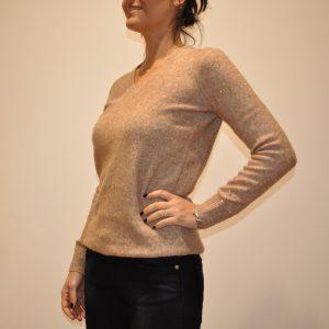 SUN68 – K40212 Scollo V in lana e lurex colore Beige