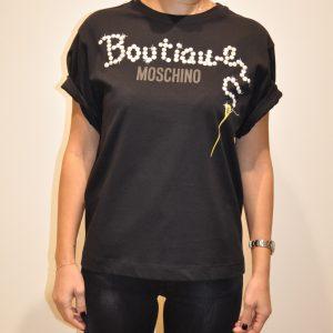 MOSCHINO BOUTIQUE – T-shirt in cotone Logo con Perle colore Nero