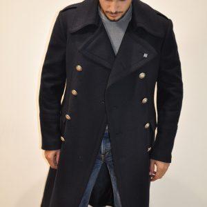 """""""TAGLIATORE"""" – Cappotto Aviatore doppio petto lana spinato in colore BLU"""