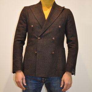 TAGLIATORE – Giacca doppio petto in lana opsack colore Moro