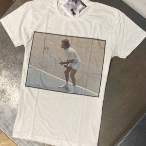 """""""L'ELITE 55"""" T-shirt in cotone con stampa TENNIS colore Bianco"""