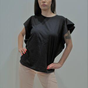 """""""THE M.."""" T-shirt con senza maniche con rouches applicate colore NERO"""