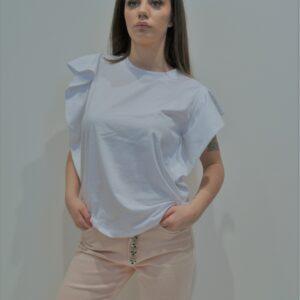 """""""THE M.."""" T-shirt con senza maniche con rouches applicate colore Bianco"""