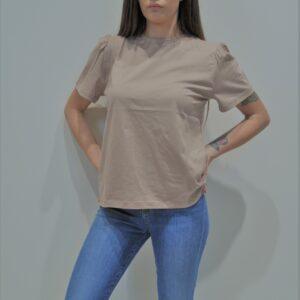 """""""THE M.."""" T-shirt in cotone con manica a Sbuffo colore Cipria"""