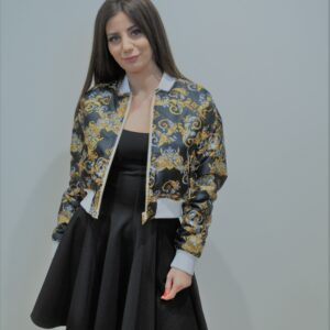"""""""VERSACE JEANS COUTURE"""" Bomber reversibile in stampa barocco e logo Versace"""