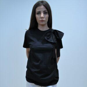"""""""THE M.."""" T-Shirt mezza manica con fiocco colore Nero"""