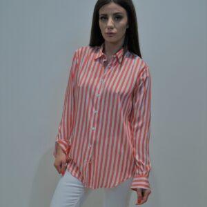"""XACUS"" Camicia uomo gessatone misto seta e viscosa colore Arancio"