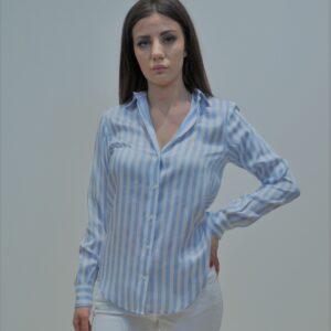 """""""XACUS"""" Camicia uomo gessatone misto seta e viscosa colore Azzurro"""