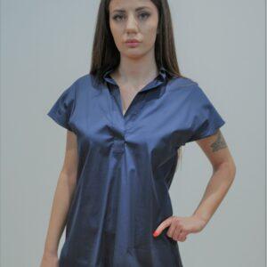 XACUS – Camicia scollo a V a tunica senza maniche in cotone colore Blu