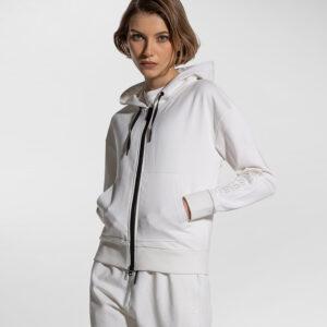 PEUTEREY – Felpa AGAMIA EMB con cappuccio e zip centrale colore Bianco