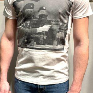 """""""L'ELITE 55"""" T-shirt in cotone con stampa LIZA GUN colore Bianco"""