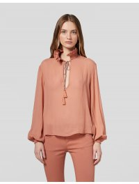 """DONDUP"" – Camicia in georgette a manica lunga in colore Rosa"
