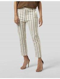 DONDUP – Pantalone carrot ARIEL in cotone viscosa rigata colore Bianco