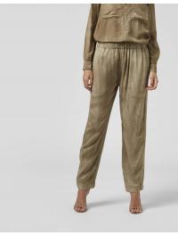 DONDUP – Pantalone loose Cleo con elastico in viscosa in colore militare