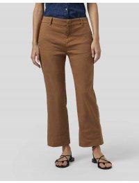 DONDUP – Pantalone MELI cropped loose in misto lino colore Tabacco