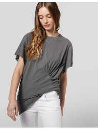 DONDUP – T-shirt over in jersey con arricciature sul davanti colore Nero Asfalto