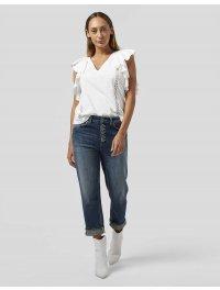 DONDUP – Top scollo a v in jersey colore bianco con inserti rouches in pizzo