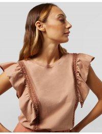DONDUP – Top girocollo in jersey con ricamo e rouches colore Rosa