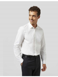 DONDUP – Camicia slim in popeline stretch colore bianco