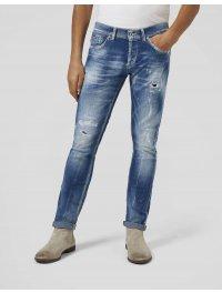 DONDUP – Jeans skinny GEORGE, strappi e rammendi chiaro