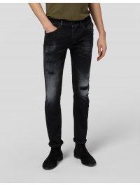 """""""DONDUP"""" Jeans ALEX cavallo basso skinny colore Denim Nero con rotture"""