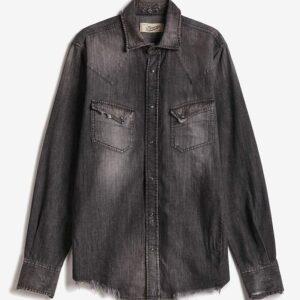 PENCE – Camicia texana in denin nero con rotture